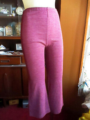 GIRLS Sz 10 true 23x23 Vtg 70s BELLBOTTOM HEATHERED PURPLE ACRYLIC KNIT PANTS