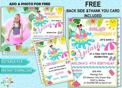 swimming pool party invitation 7x5 birthday party invitation kids