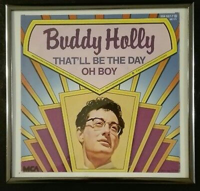 Buddy Holly gerahmtes Plattencover That'll Be The Day / Oh Boy
