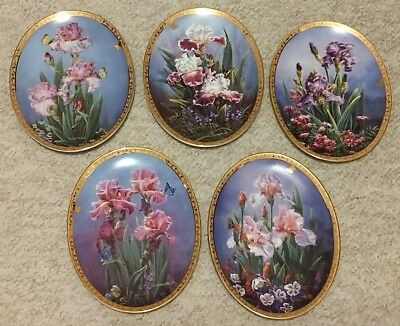 Lot of 5 Collector Plates Bradford Exchange A Rainbow of Irises Beautiful Flower