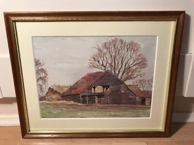 Lovely Early 20th Century Watercolour Painting Of Farm Scene In Wood Frame