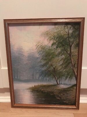 Charming Oil Painting On Board Of Landscape In Wood Frame