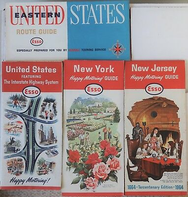 Four (4) 1963, 1964 Esso Folding Maps Humble Oil & Refining Co