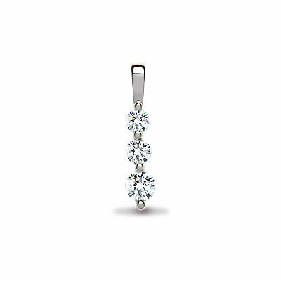 Jewelco London 18 Carats or Blanc 0.47ct Diamant Trilogie Pendentif