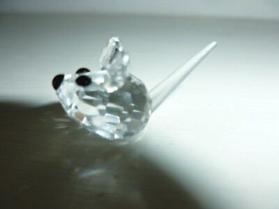 Swarovski tiny crystal mouse -frosted glass tail - immaculate condition