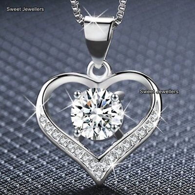 Silver Crystal Diamond Heart Necklace Xmas Gifts For Her Women Mum Wife Jewelery