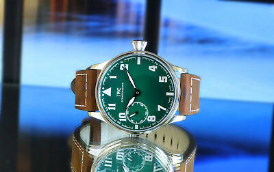 Men's 44mm IWC Pre-Portuguese cal. 73 Green Dial PILOT Marriage Watch from c1930