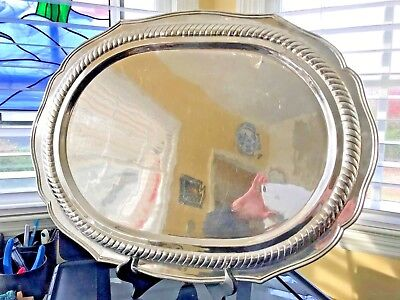 """Silver Butler's Serving Platter or Tray 23""""x16"""" 76 Troy Ounces"""
