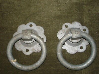 "Pair vintage galvanised iron 3"" door pulls"