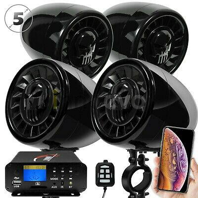 "4 Wheeler ATV UTV RZR 5"" 1000W Bluetooth Stereo 4 Speaker Audio System MP3 Radio"