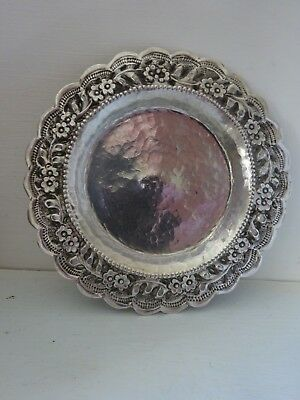 Solid silver hand made plate with flower design