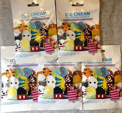 Disney Authentic 25 Pin Trading Lot Unopened Booster Pin Packs ( Ice Cream )