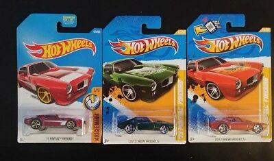 HOT WHEELS lot of 3 '73 PONTIAC TRANS AMS red green and red w stripe