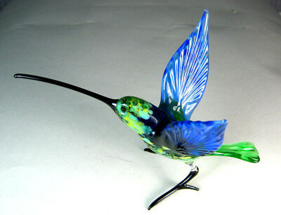 blown glass animal bird hummingbird  blue wings  murano figurine art long beak