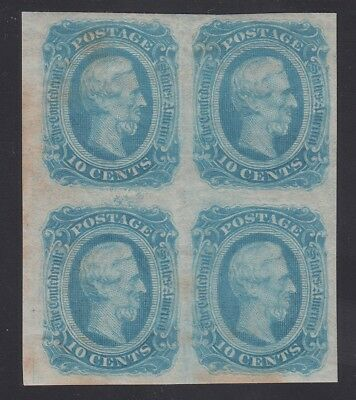 TDStamps: US Confederate States CSA Stamps Scott#12 Mint H OG Stain Block of 4