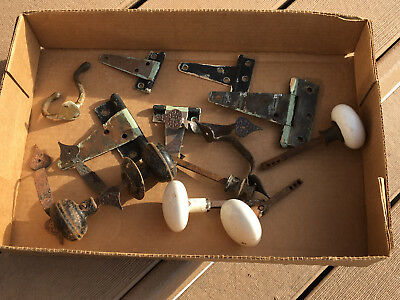 COLLECTION OF DOOR KNOBS HINGES Mixed Lot of Door Knobs Drawer Pulls Vintage