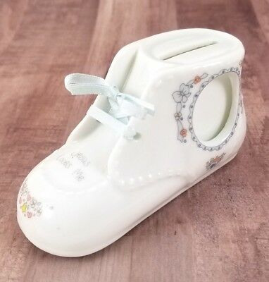 """Precious Moments 1991 Baby Shoe Money Bank """"Jesus Loves Me"""" (Crazing on Top)"""