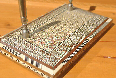 Persian Khatam Double Pen Holder. Desktop, Mosiac Hand Crafted with Wooden Base