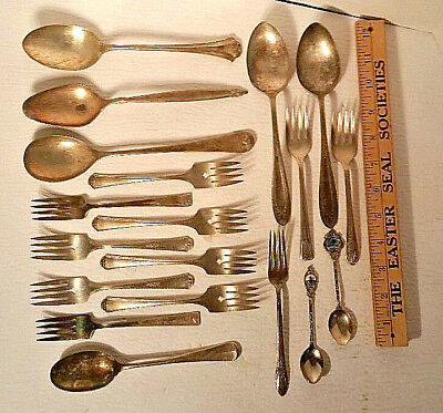 Vtg silverplate mixed lot dessert fork cake pie salad spoon silverware