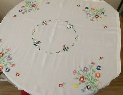 """Vintage hand embroidered tablecloth Viscose with floral design 39 3/4"""" x 37 1/2"""""""