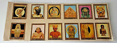 Egypt King Tut Pharaoh Sarcophagus Pyramids Vintage Stamps Stickers Set of 12
