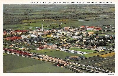 College Station Texas 1920s Postcard A & M College Football Game Thanksgiving
