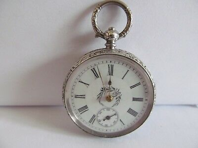 1900/1920 fob pocket watch soild silver very good condition and working