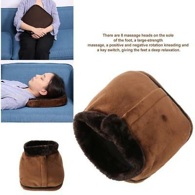 Foot Massager Feet Warmer Electric Brown Heated Comfort Fleece Suede Washable F5