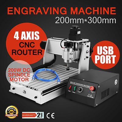 3020T 4 Axis Usb Cnc Router Engraving Cutter Woodworking Engraver Usb Port