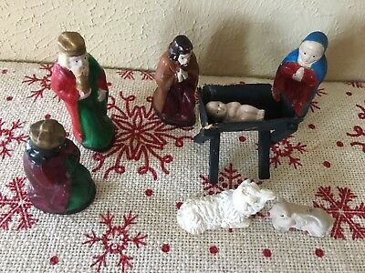 Antique Christmas Nativity Creche Figurines Handmade Moulded Clay Japan Set of 8