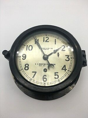 "1940s WWII Chelsea Clock Co US Maritime Commission Boston 6"" Face Non-Working"