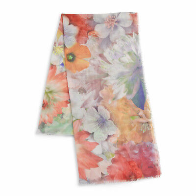 """ECHO DESIGN Floral Summer Blossoms Print Oblong Scarf Wrap 20"""" x 72"""" NEW"""