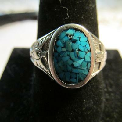 Vintage Sterling Silver Crushed Turquoise with TBird & Cross Sides Ring Size 11