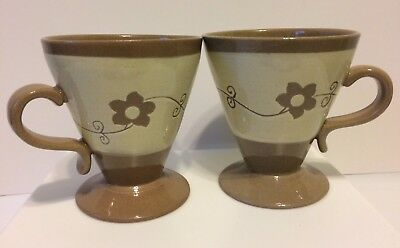 Pair of Vintage Stoneware Glazed Mugs Cups Cone Shape with Pedestal Base