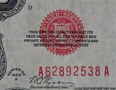 $2 1928A large red seal US Note A62892538A two dollar, KEY series A, FREE SHIP.