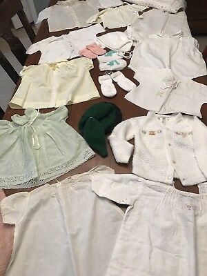 Vintage Baby Clothes Lot Dresses Mittens Bonnets Blankets Jackets (50)