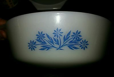 Retro Collectible Round Casserole Dish, Blue Flowers, Fire King, Anchor Hocking.