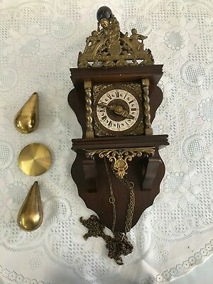 vintage brass and wooden bell and chime clock titan Atlas (needs repair)