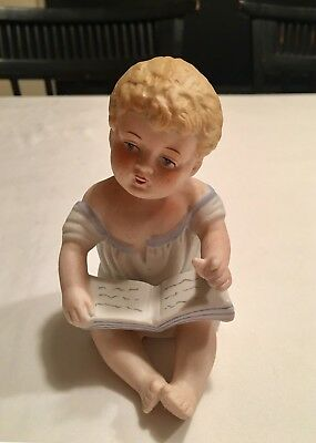 Vintage Bisque Porcelain Piano Baby Gebruder Heubach German 23/114 Reading Book