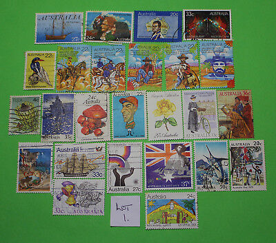 Vintage Bulk Lot 24 Australian Decimal Stamp Mixed Group Used 1980 Lot #1 1218
