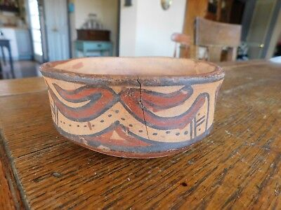 Ancient PRE COLUMBIAN MAYAN Pottery Bowl-Painted Abstract Design-Great Condition