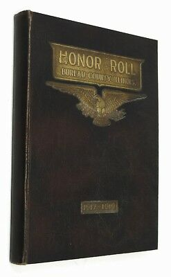 Bureau County Illinois, IL Soldiers Book, HONOR ROLL World War I WWI, 1920