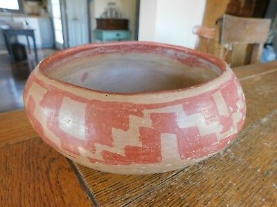 Old PRE COLUMBIAN Pottery Bowl-Painted Abstract Zig Zag Design-Great Condition