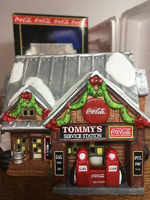 1998 Coca-Cola® Town Square Christmas Village - TOMMY'S SERVICE STATION