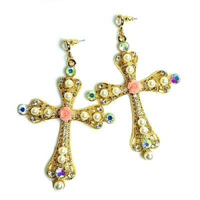 Byzantine AB Crystal Faux Mini Pearls Ornate Large Statement Cross Earrings Gold