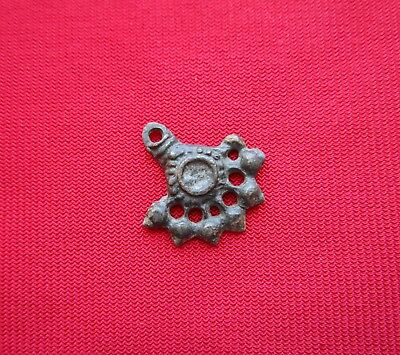 Ancient Celtic pendant / amulet . stylized tree  - bronze - I century BC . 5