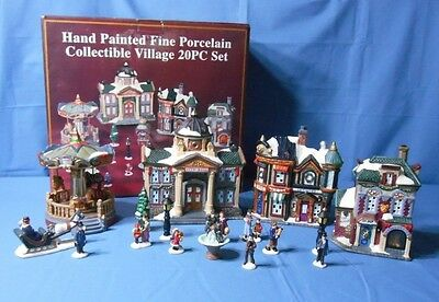 17 Pc Christmas Village Hand Painted Porcelain Merry Go Round City Hall Toy Shop