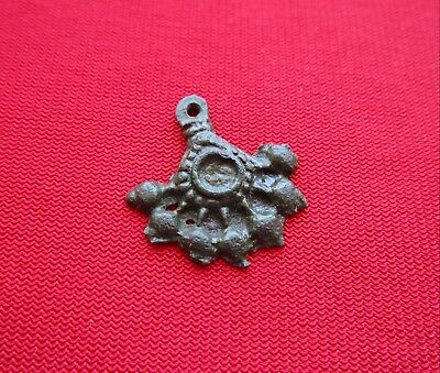Ancient Celtic pendant / amulet . stylized tree  - bronze - I century BC . 6