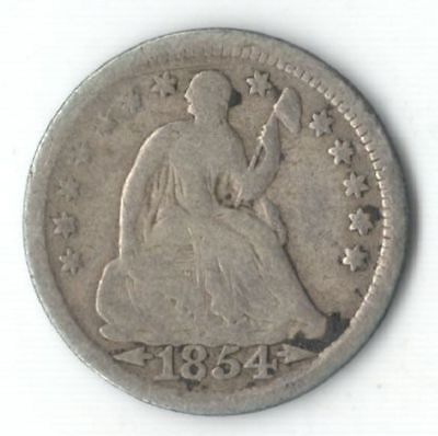 U.S. 1854 Silver Seated Liberty Half Dime with Arrows - Ships Free