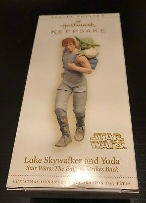 Hallmark Luke Skywalker And Yoda Empire Strikes Back Ornament In Orig Box - Euc!